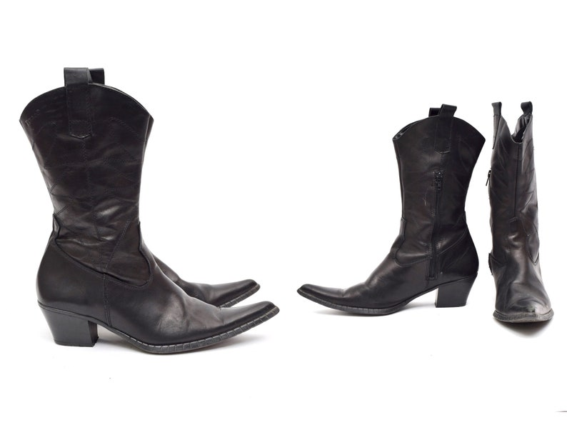 d591b305e5d Vintage 90's Black Leather Western Style Cowboy Boots with Side Zippers