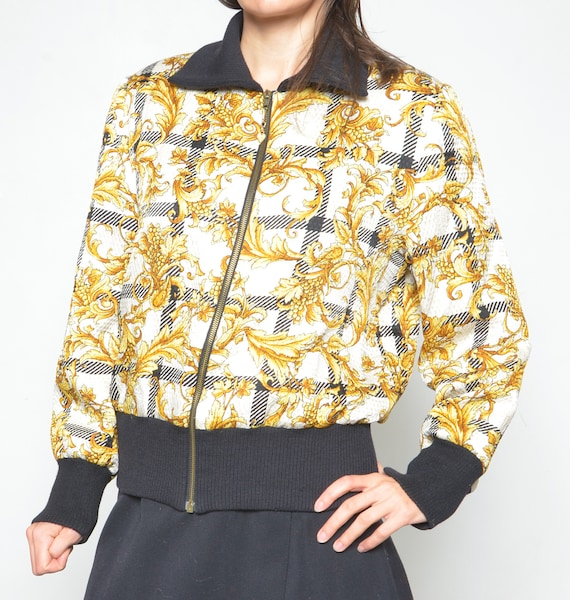 Vintage Baroque Silk And Wool Printed Bomber /90s… - image 6