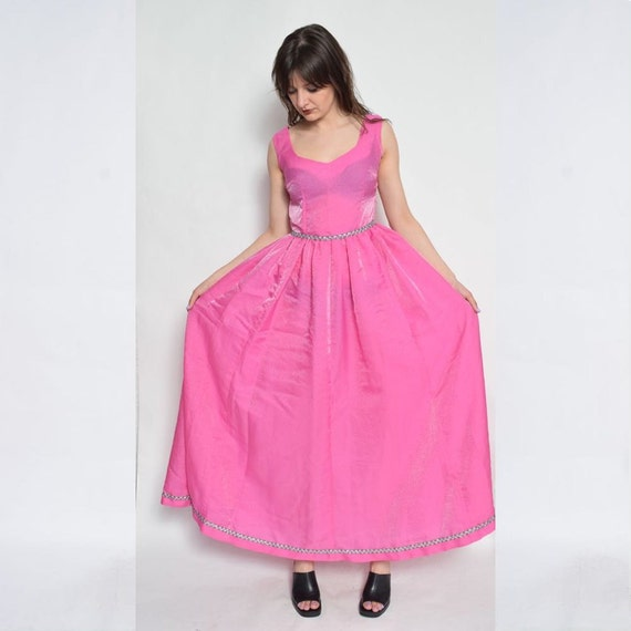 Vintage Pink Princess Dress /Sleeveless Maxi Gloss