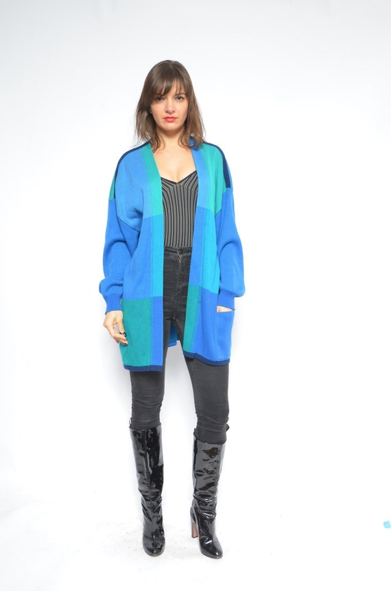 a581f8aa5 Color Blocking Cardigan   Vintage 90s Blue Long Pocket Sweater