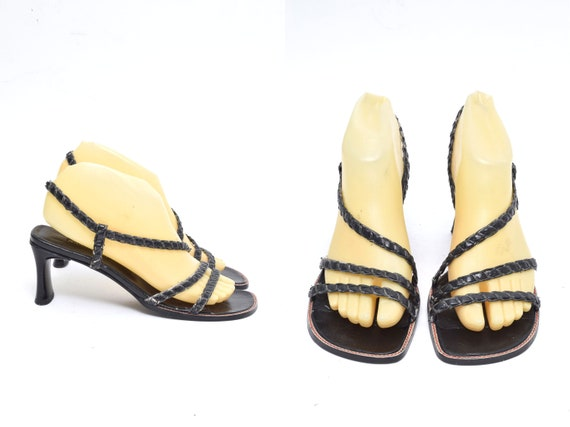 Vintage 90's Black Braided Leather Strappy Sandals