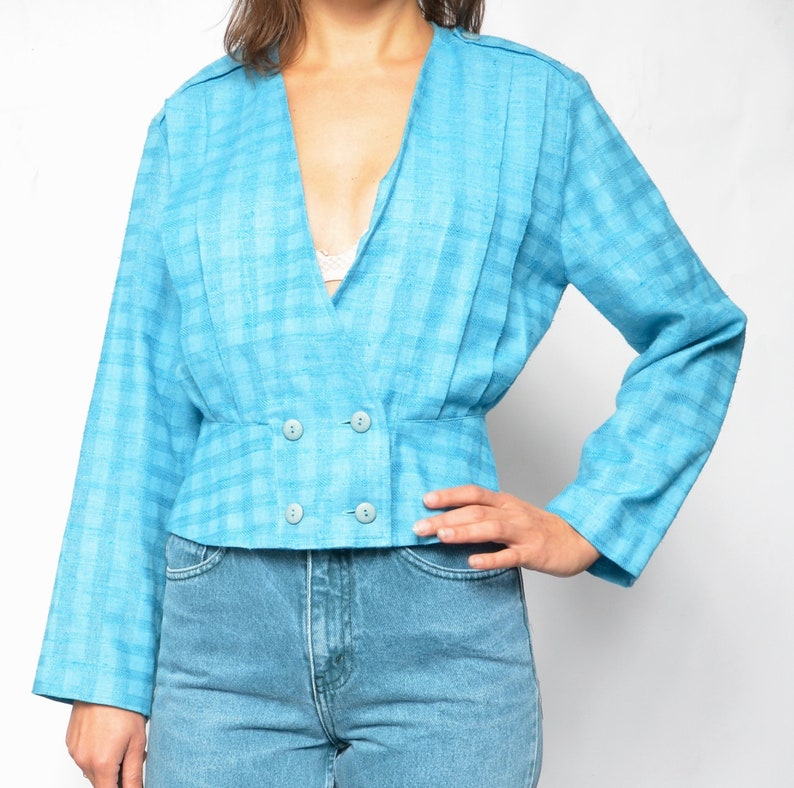 Size Small Turquoise Wrap Up Blouse  Vintage 80s Cropped Button Light Jacket  Front Pleated Short Blazer