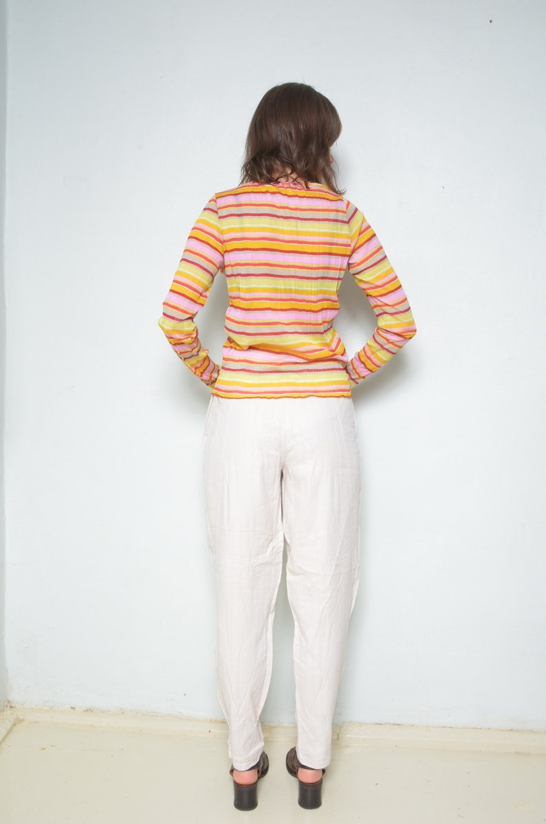 Size Medium Colorful Mesh Top  Vintage 90s Long Sleeve Striped Multi Color See Through Blouse