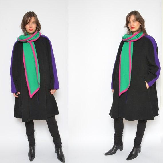 Color Blocking Wool Coat/ Vintage 80s Multi Color