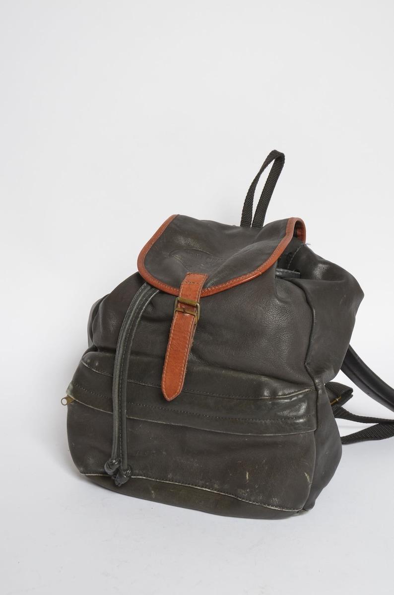 Large Vintage 90/'s Real Leather  Black Backpack
