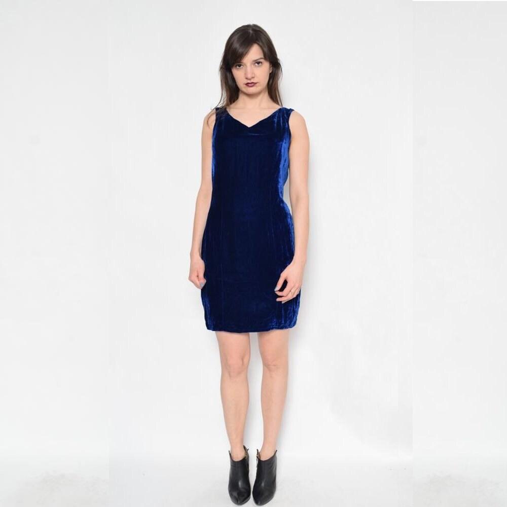 8c8dcf5f5bd1 Vintage 90's Blue Velvet Mini Dress / Sleeveless Blue Mini   Etsy