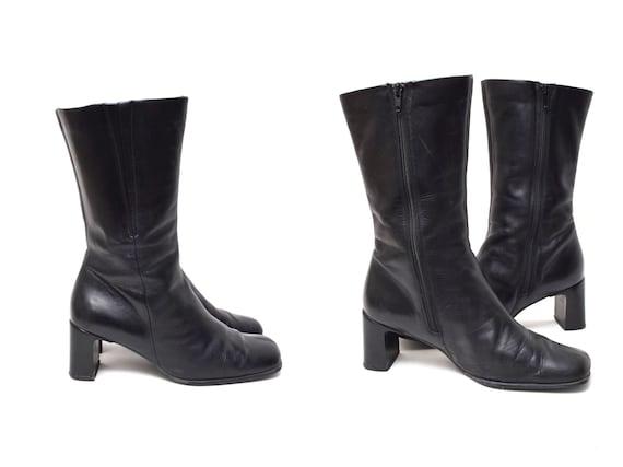 Vintage 90s Black ecco Chunky Heel Zipper Boots
