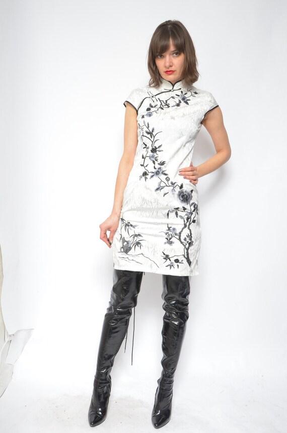 XS Vintage 1990s Mini Dress /& Jacket Black White Embroidered Floral Jacket Short Dress