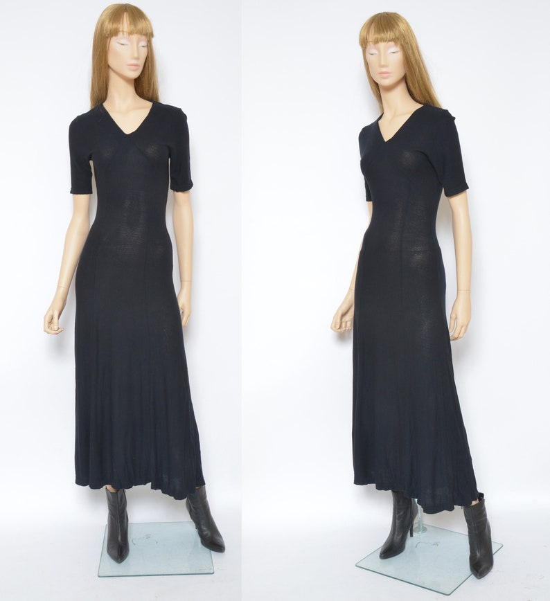 Size SXS Sheer Maxi Dress  Vintage 90s Mid See Through Short Sleeve Flared Tight Long Dress