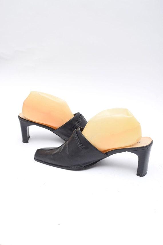 Vintage 90's Black Leather Chunk Heel Mules - image 5