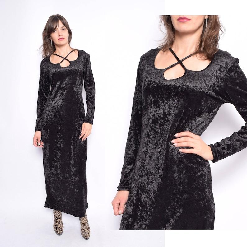 4bbd61ebada Vintage 90 s Black Velvet Maxi Dress   Long Sleeve Maxi