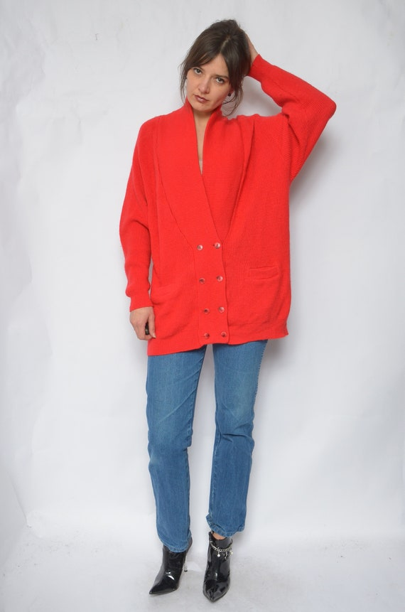 Wool Button Cardigan / Vintage 90s Oversized Ribbe