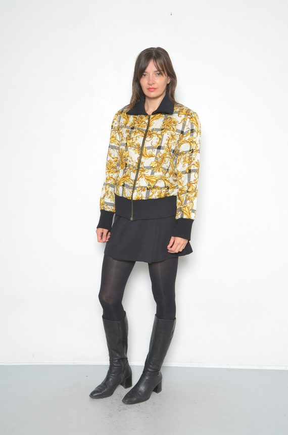 Vintage Baroque Silk And Wool Printed Bomber /90s… - image 3