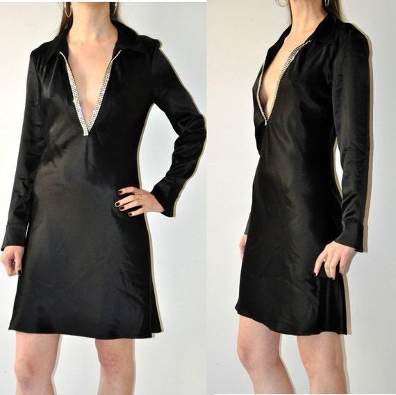 Satin Deep V-Neck Dress / Vintage 90's Black Eveni