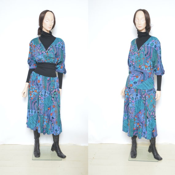 Two Piece Abstract Print Skirt Suit / Vintage 80s