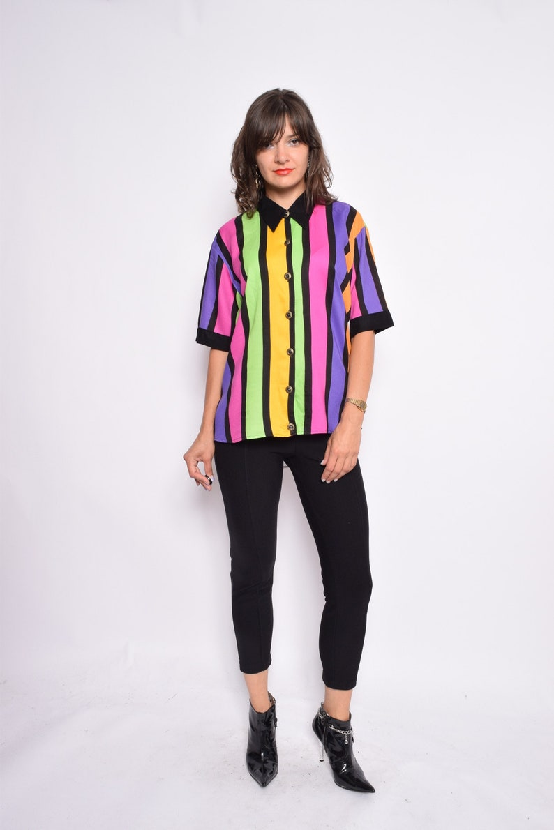 0e6bf710 Rainbow Button Blouse / Vintage 80s Multi Color Short Sleeve | Etsy