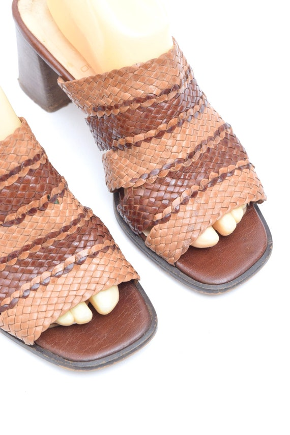 Vintage 90's Woven Brown Leather Chunky Heel Slip… - image 7