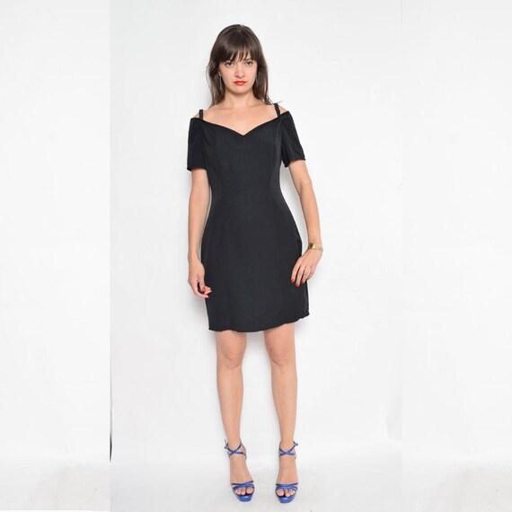 Vintage 90s Black Off The Shoulder Dress Shoulderless Etsy