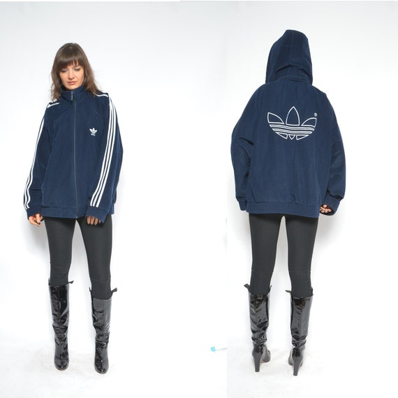 Adidas Velour Jacket Vintage 90s Dark Blue Zipper Hooded Jumper Sports Bomber Adidas Hoodie Size Large