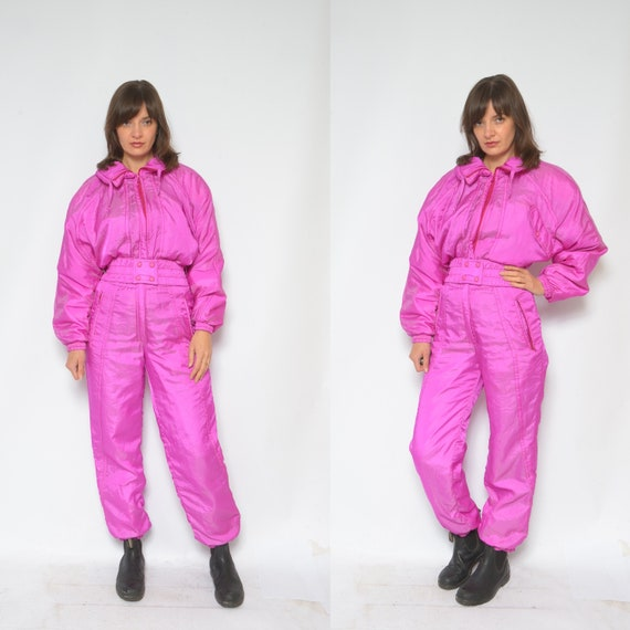 One Piece Skiing Suit / Vintage 90's  Hot Pink Zip
