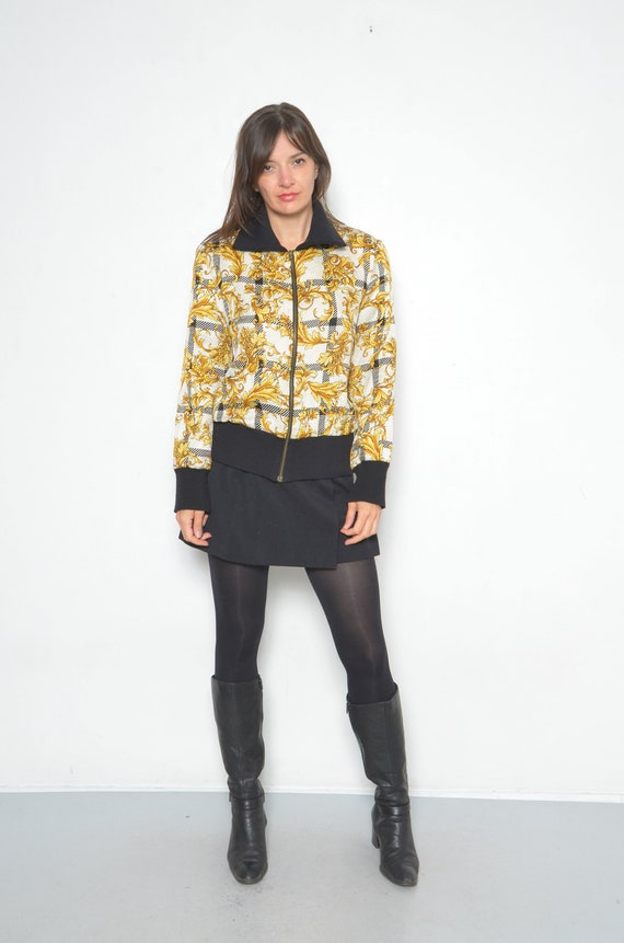Vintage Baroque Silk And Wool Printed Bomber /90s… - image 2