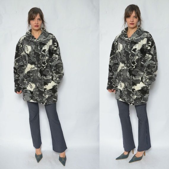 Faux Fur Jacket Winter Coat /Vintage 80's Abstract