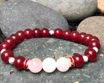Japanese Ruby bracelet, Rose Quartz bracelet, Stretch bracelet, Healing, Love, Meditation