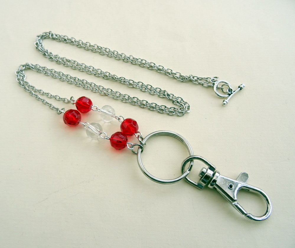 Id Card Beads: Beaded Id Badge Lanyard Red Beads Silver Chain Glasses