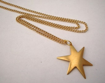 Brass star necklace charm on gold plated chain