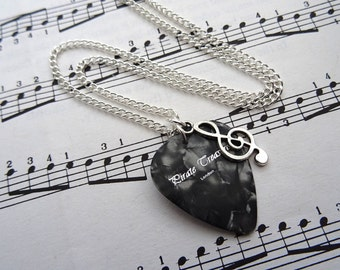 Plectrum & treble clef necklace - music note charm - guitar pick - silver - singer musician jewellery