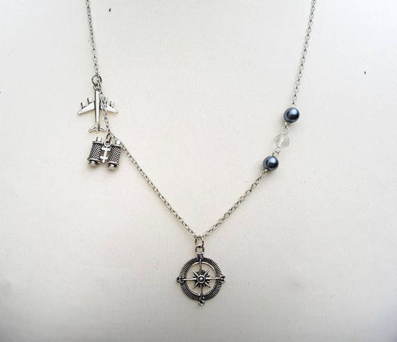 Blue Crystal Charms Globe Camera Personalized Silver-tone Airplane Binoculars Initial Necklace Custom Charm Travel Lover Gift A1606