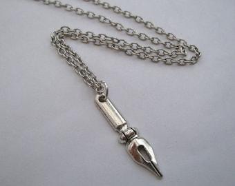 Pen nib necklace on antique silver chain