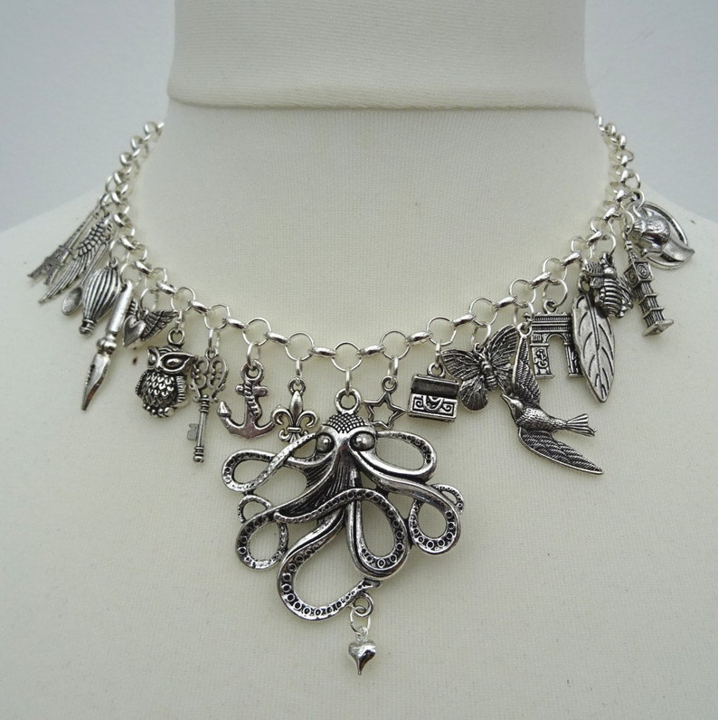silver octopus hot air balloon bird anchor Statement charm necklace butterfly Eiffel Tower owl key