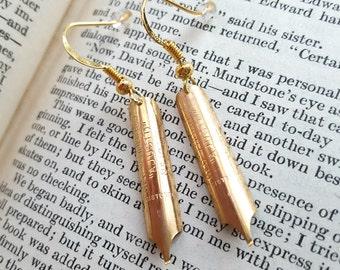 Pen nib earrings, vintage gold plated steel fountain pen dip ink nibs, repurposed, upcycled