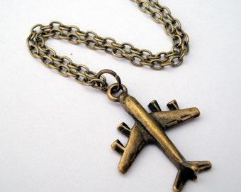 Airplane charm necklace aeroplane in antique bronze travel adventure plane