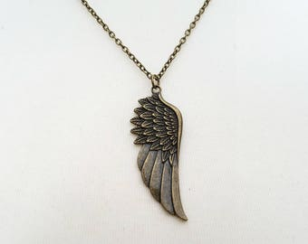 Wing necklace, angel wing, bird wing, vintage style antique bronze charm on chain