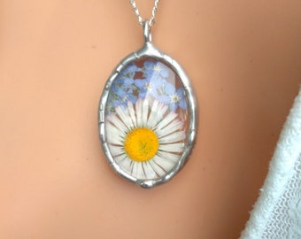 a680cc411 Forget me not necklace, daisy pendant, dried flower jewelry, tiffany  technique