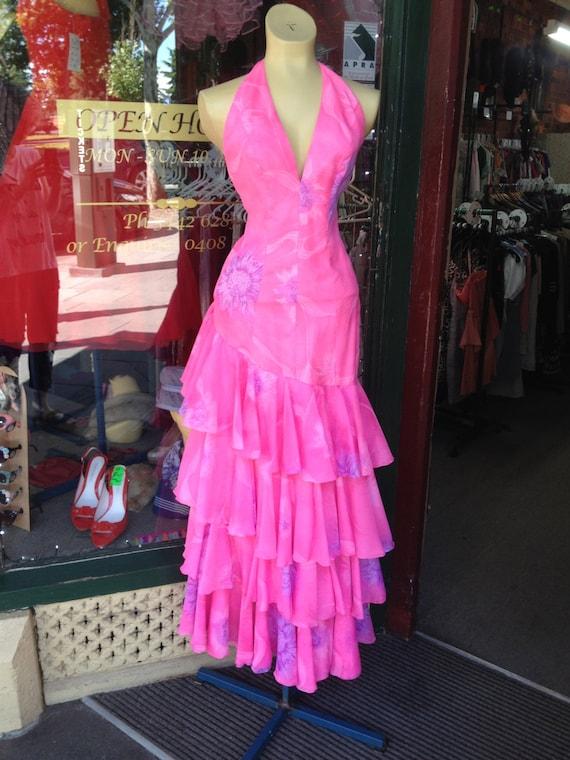 1980s Barbie Pink Halter Neck Dress