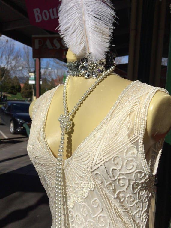 1920's Cream Flapper Beaded Dress/Cream Flapper Dr