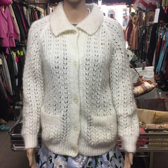 Vintage White Mohair Cardigan