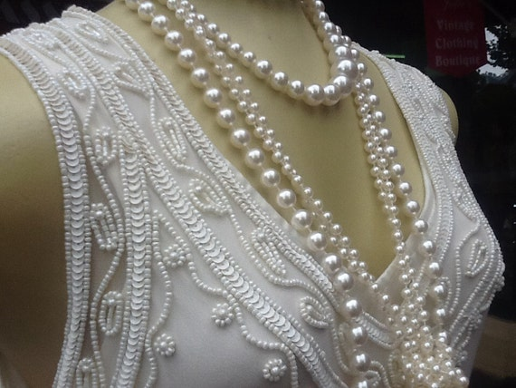 Cream Flapper Dress/1920s Cream Dress/Cream Beaded