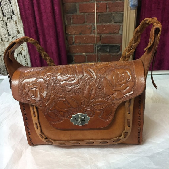 Authentic Blue Hand Tooled Leather Purse by ChamanShop on Etsy 0eb118664fe65