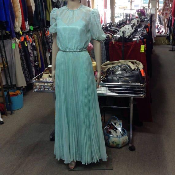 1950s Mint Green Chiffon Formal Dress