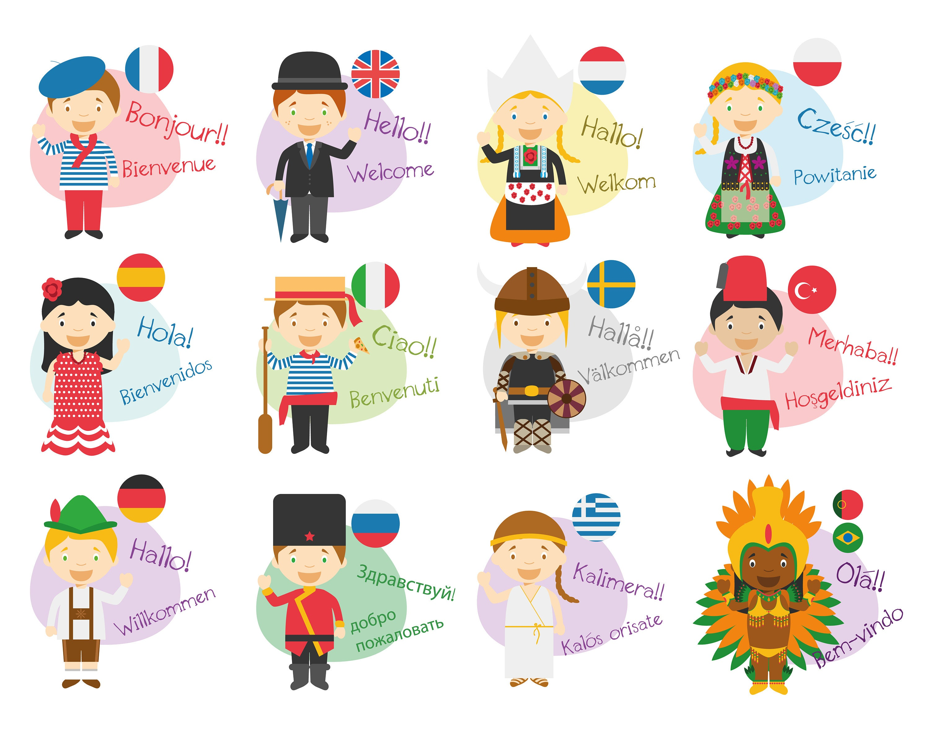 Hello In Different Languages Notecard Postcards Greeting Cards Etsy