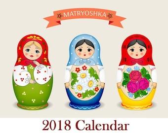 2018 Babushka Russian Doll Matryoshka Wall Calendar HALF PRCIE!