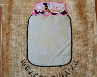 Burlap small garden flag. Welcome Y'all glass jar country decor