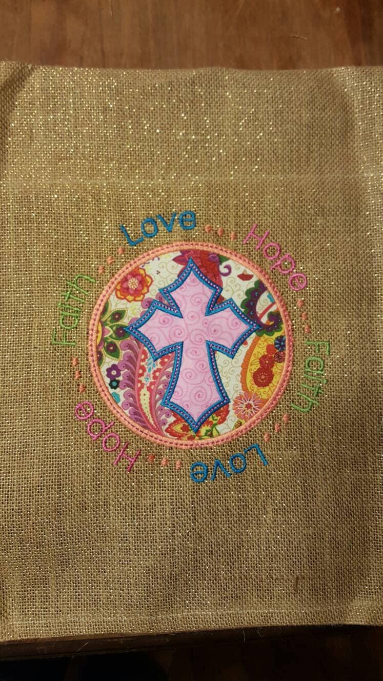 Cross hope faith love burlap small garden flag   Etsy