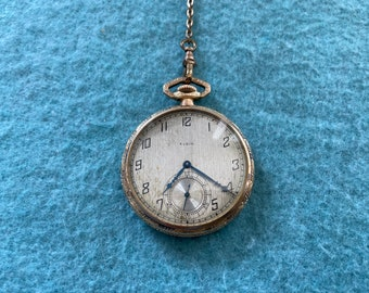 Vintage Elgin Mechanical Wind Up Pocket Watch with the Chain