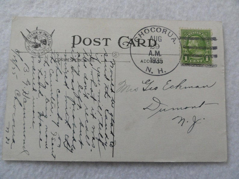 New Hampshire Chocorua in the White Mountains   Vintage 1935  Postcard Chocorua Mountain