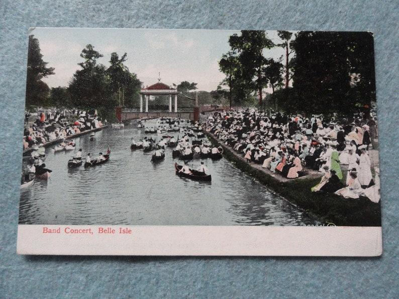 A Band Concert, Belle Isle, Detroit Michigan Vintage Postcard